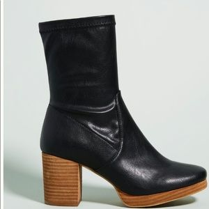 Anthropologie Silent D Careful Black Leather Boots